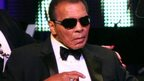 Muhammad Ali, pictured at a celebrity boxing match in 2012