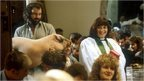 A scene from the Vicar of Dibley where Geraldine, played by Dawn French, holds a ceremony for pets