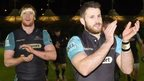 Glasgow Warriors applaud their fans after beating Munster
