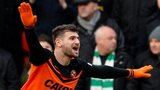 Nadir Ciftci celebrates after scoring for Dundee United against Celtic