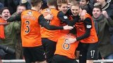 Stuart Armstrong celebrates after scoring for Dundee United against Celtic