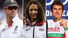 Kevin Pietersen, Jo Pavey and Geraint Thomas