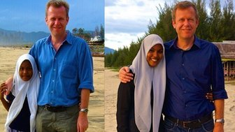 Mawardah Priyanka (left) and Andrew Harding after the 2004 tsunami and now