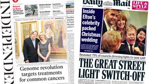 Independent and Times front pages
