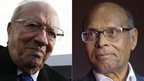 Beji Caid Essebsi, left, and Moncef Marzouki (file images)