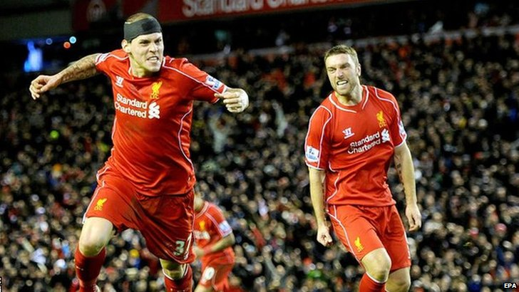 Martin Skrtel and Rickie Lambert celebrate