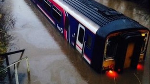 Train in floodwater