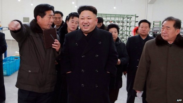North Korean leader Kim Jong-Un visiting the Kim Jong-Suk Pyongyang Textile Mill in Pyongyang.