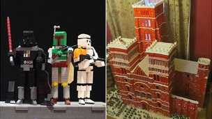 Lego Star Wars characters and cathedral model