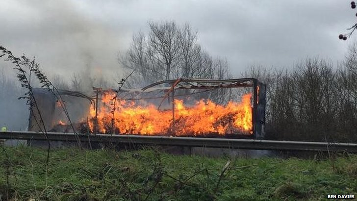 A40 lorry fire