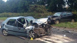 A car crash on the A40
