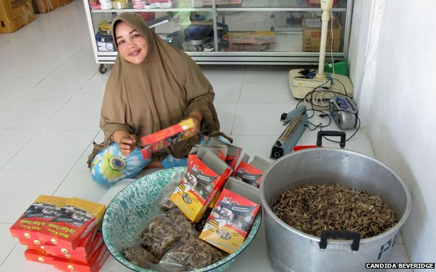 Fauziah and her Tsunami dried fish product