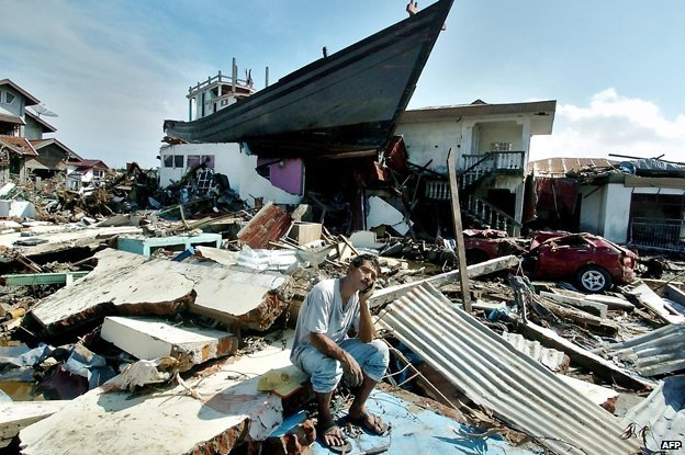 The boat in 2005 surrounded by devastation