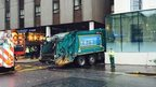 Crashed bin lorry