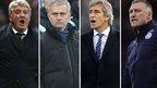 Steve Bruce, Jose Mourinho, Manuel Pellegrini and Nigel Pearson