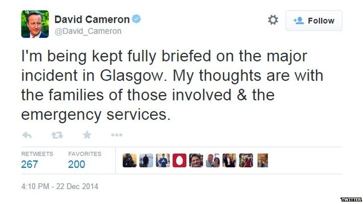 Screengrab of David Cameron's tweet