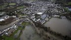 Aerial photograph of flooding in Keswick