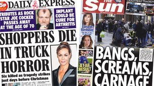 Composite image of Express and Sun front pages