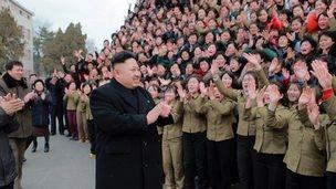 North Korean leader Kim Jong-Un visiting the Kim Jong-Suk Pyongyang Textile Mill in Pyongyang.