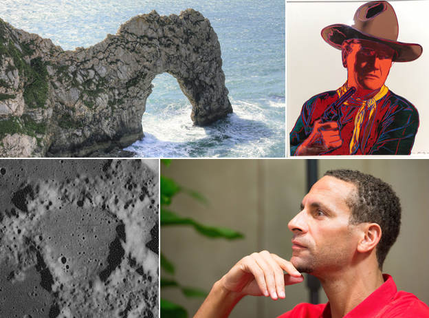 Durdle Door; John Wayne (as painted by Andy Warhol); the Moon crater Franz; Rio Ferdinand