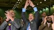 Nigel Farage celebrates Mark Reckless' victory in the Rochester and Strood by-election