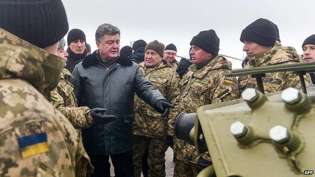 President Petro Poroshenko with troops in Chuguiv, Kharkiv region. 6 Dec 2014