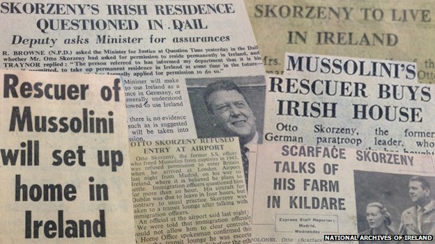 Newspaper headlines about Otto Skorzeny from the 1950s and 1960s