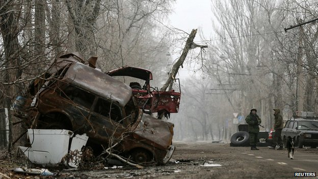 Wreckage from fighting near Donetsk airport. 16 Dec 2014