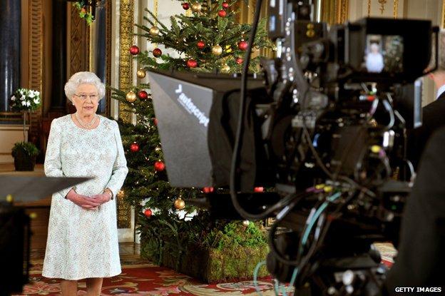 The Queen filming her Christmas speech