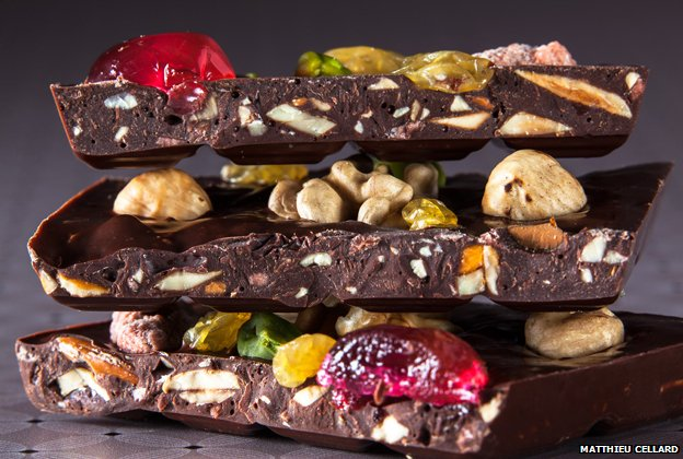 One of Bernachon's chocolates - known as mendiant (beggar)