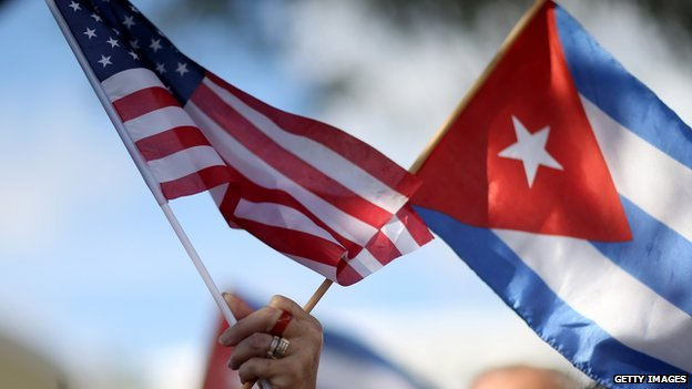 US and Cuban flags.