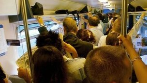 Commuters on a packed Thameslink train