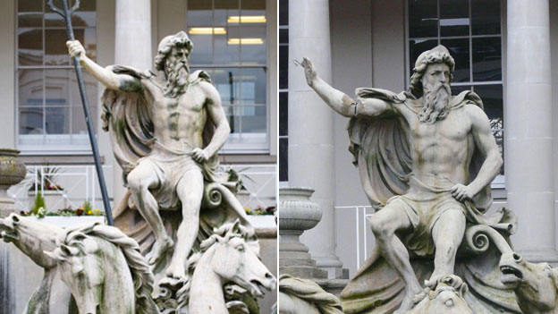 Neptune's statue before and after the trident was taken