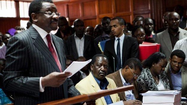 Kenya's opposition lawyer James Orengo speaks in a Nairobi court on 23 December 2014