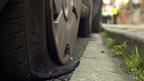 A slashed tyre