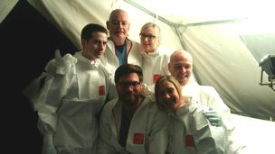 Chris Williams (top centre) in an Ebola training session with colleagues