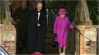 The Queen leaving Christmas Day service
