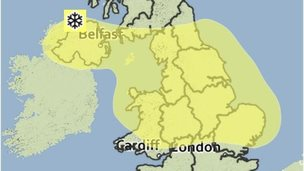 Met Office map showing weather warning