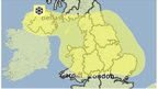 Met Office map showing weather warning