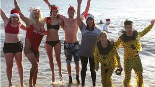 Fundraisers at the Felixstowe Christmas Day dip 2014