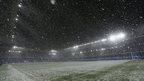 The snow fell at Goodison Park where Everton were taking on Stoke in the Premier League