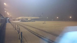 Snow at Liverpool airport on 26 December 2014