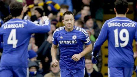 John Terry celebrates his goal against West Ham