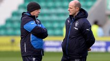 Rangers coaches Kenny McDowall and Gordon Durie at Easter Road