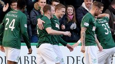 David Gray (centre) fired Hibs in front at Easter Road
