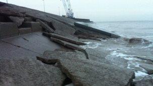 Sea defences Anchorsholme 26 Dec 2014