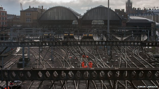 Work on tracks near King's Cross station