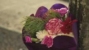 Tribute flowers on Frinton Road crossing