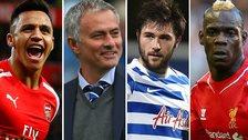 Alexis Sanchez, Jose Mourinho, Charlie Austin, and Mario Balotelli