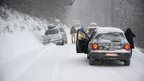 Cars stuck near Les Saisies ski resort in Savoy, south-eastern France, 27 December
